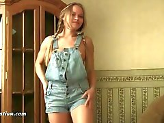 Pretty braided pigtails on stripping solo teen
