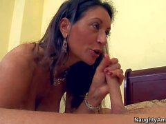 Mature black haired Persia seduces young stud Seth Gamble