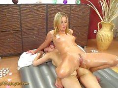 Teen enjoys a lesbian massage