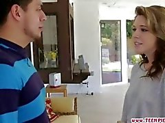 Teen Summer Lace gobbles the dudes cock good