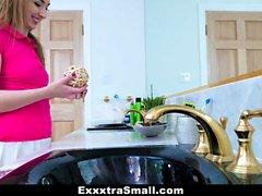 ExxxtraSmall - Cute Teen Swallows Pissed Stepdads Load
