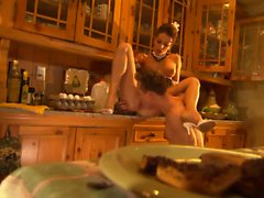 Smutty maid lures her master for rough sex at the kitchen