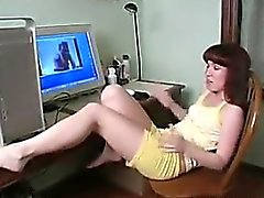 Teen Girl Fingering At A Computer Desk