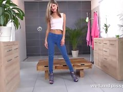Gina Gerson pees through her denims and fingers herself
