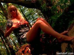 Innocent russian blonde outdoor teasing