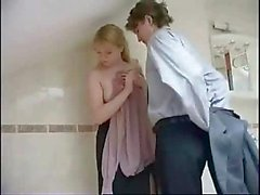 Tight teen russian bathroom surprise