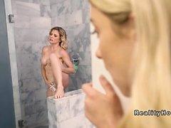 Teen gf watching stepmom masturbates in shower