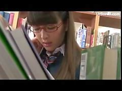 schoolgirl drilled by library geek 01