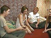 Vehement gangbang fucking session with ladies