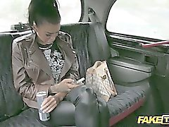 Slutty teen with rounded tits pays the taxi driver by sucking his cock and then he fucks her hard