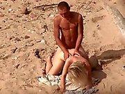 Voyeur on public beach. Hot young couple sex3