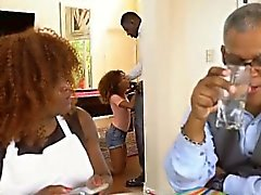 Black Teen Kendall Woods Sucking Dink During Dinner Party