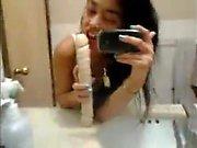 Teen dildo in bathroom