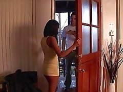 Stunning amazing brunette teen doing blowjob and masturbating in the kitchen