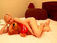 Sensual Blonde Tease with Teddy Bear & a mp_ Dildo