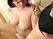 Busty housewife cum on tits