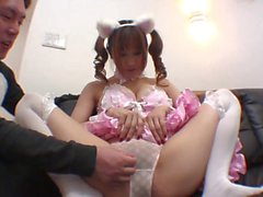 Cutie in white teddy ears gets pussy fondled on the sofa