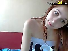 gorgeous redhead home alone teen
