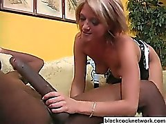 Blonde slut worshipping huge black dick