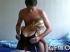 Guy bangs his sexy blonde girlfriend at home