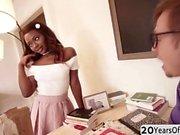 Hot ebony slut Noemie enjoys a hard interracial anal fuck