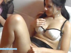 Two horny Czech teens playing with one lucky cock