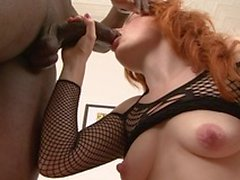 Black stud getting his black dick sucked by a redhead then bangs her