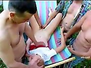 4 mens fucks young girl in forest