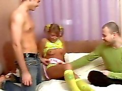 Wild threesome sex with teen