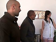 Tania a brunette fucked in whites stockings