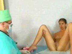 Horny gynecologist explores sweet 19 y.o. Lena