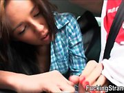 Hitchhiking teen Gina Devine gets banged in the backseat