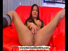 Hot busty brunette teen double pussy penetration.