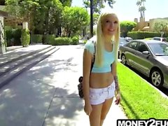 Blonde college girl paid to fuck while being recorded