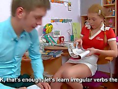 Innocent looking Teen Sarah gets naughty with her classmate