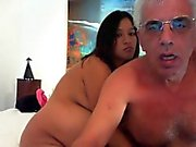 Old dude and his pregnant wife are on webcam and she blows