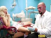 Hot blonde teen fucked in dentist chair