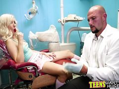 Hot blonde teen fucked in dentist chair