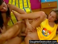 Two daughters hatefucked hard