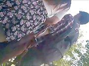 Teen girl with sexy skirt ( Upskirt )