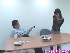 Sayuri Marui sucks woody and has snatch touched under panty