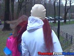 Lesbian teen gets tongued