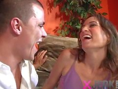 Teen Amber Rayne blows and fucks