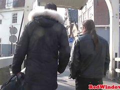 Young inked hooker cockrides older tourist