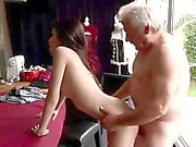 Horny senior Bruce catches sight of a ultra-cute chick sitti