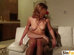 young slut Leah Gotti is having mind-blowing sex on sofa