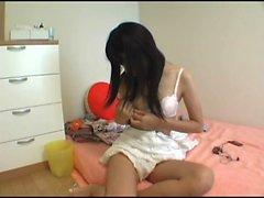 Sweet asian brunette teen fingering herself 2