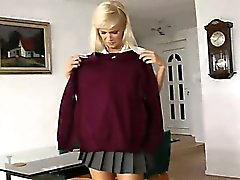 Blonde schoolgirl strips stockings
