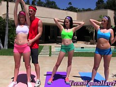 Yoga teenager face jizzed