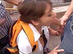 Eurasian Schoolgirl Gets Gangbanged